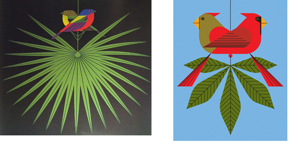 """Flamboyant Feathers"", Serigraph, 1974 Right ""Cardinals Consorting"", Serigraph, 2006"